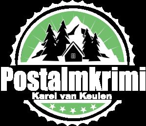 großes postalmkrimi logo weiß mit 5 sternen